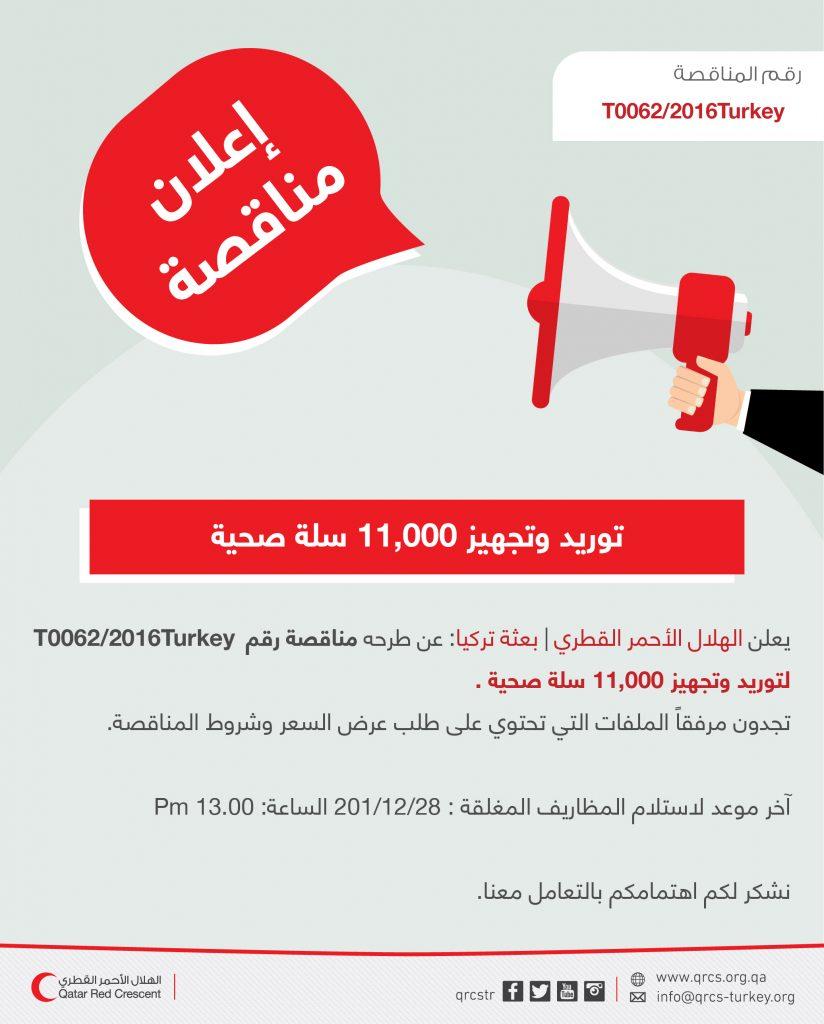 Qatar Red Crescent / Turkey Mission Hygiene Kits Tender Announcement