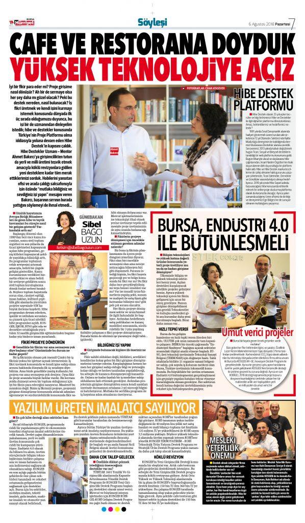 Hibe Destek Bugün Hürriyet Bursa ekinde !
